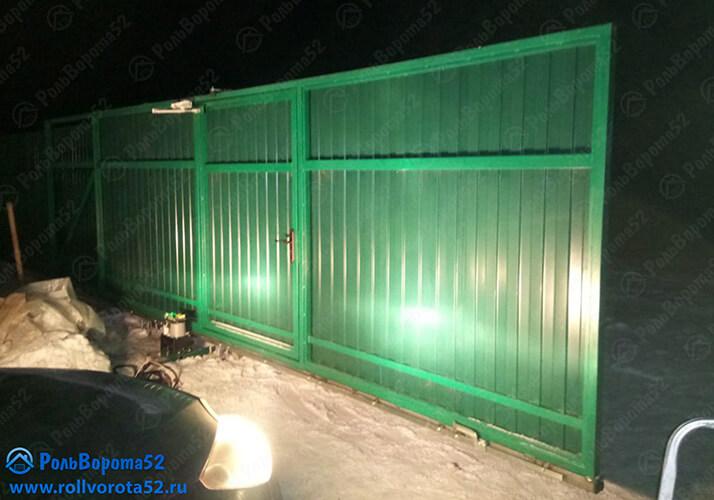 1 Откатные ворота Зеленые Профлист Нижний Новгород