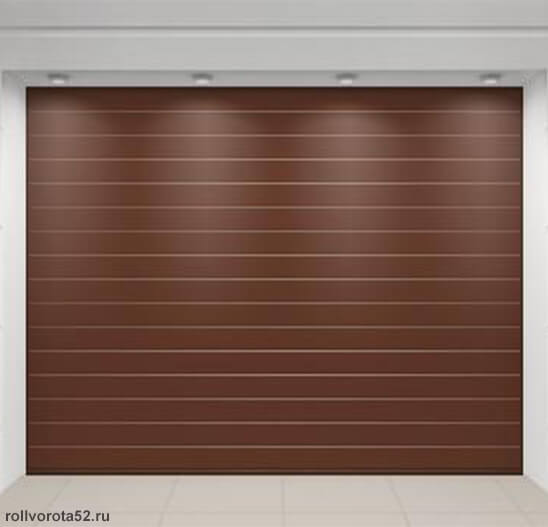 Гаражные ворота Alutech цвет коричневый