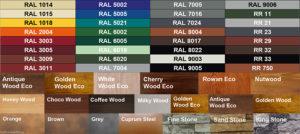 Цветовая карта забор жалюзи