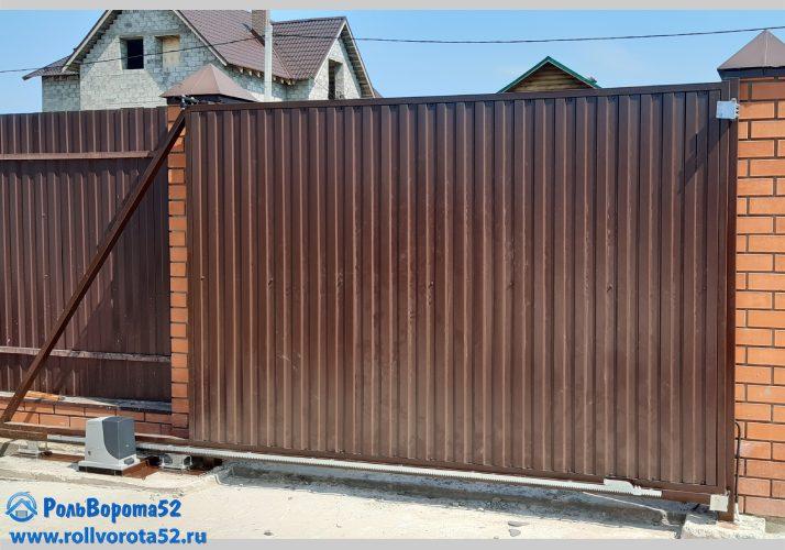 Ворота откатные профнастил коричневый 3м